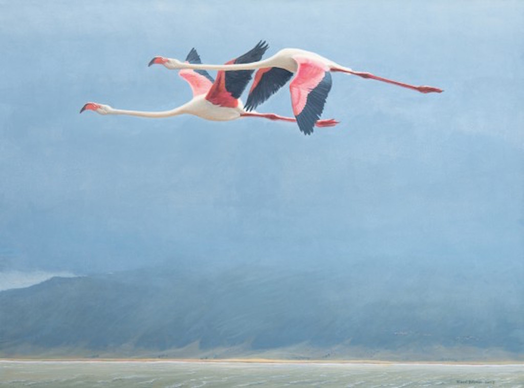 Robert Bateman Flamingos in Ngorongoro