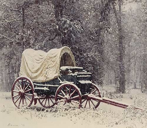 James Bama Chuck Wagon In Snow