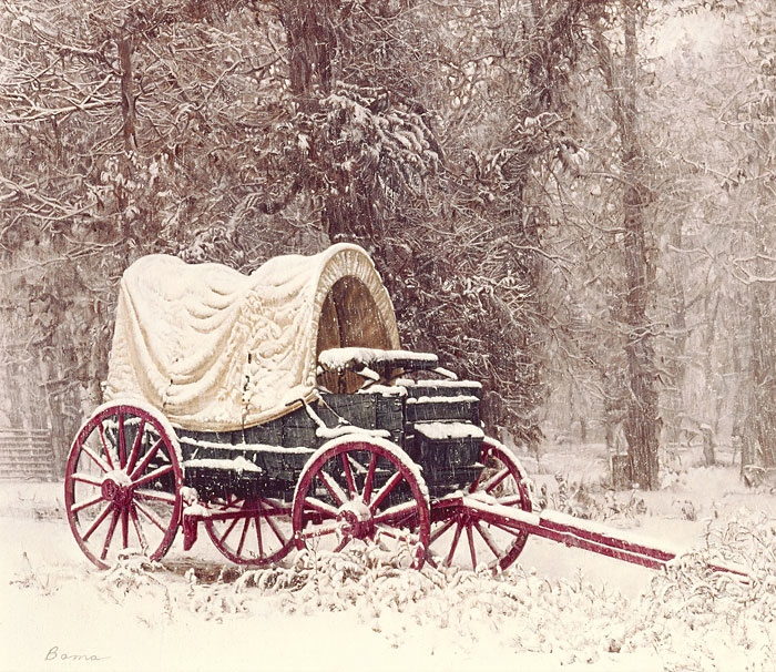 James Bama Chuck Wagon in the Snow