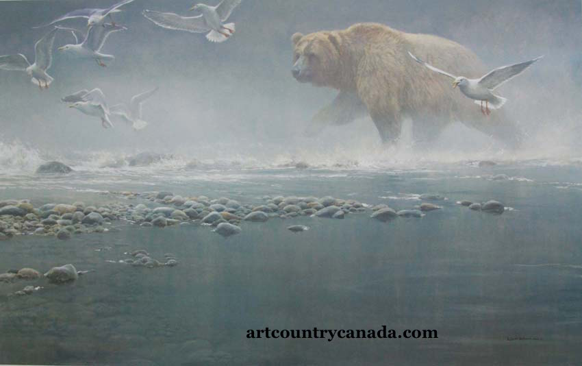 Robert Bateman Above The Rapids Grizzly and Gulls