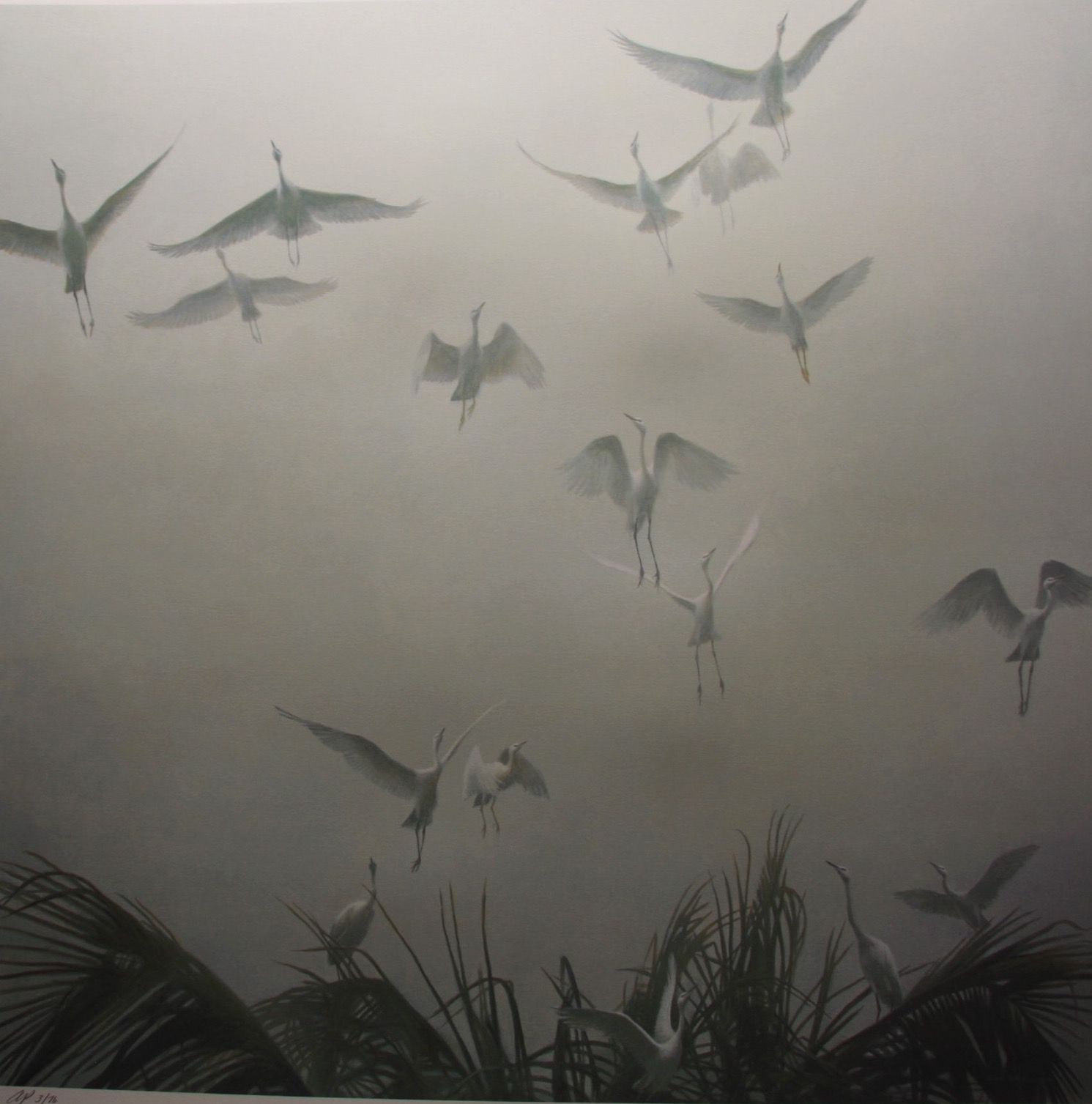 Robert Bateman Egrets Of The Sacred Grove