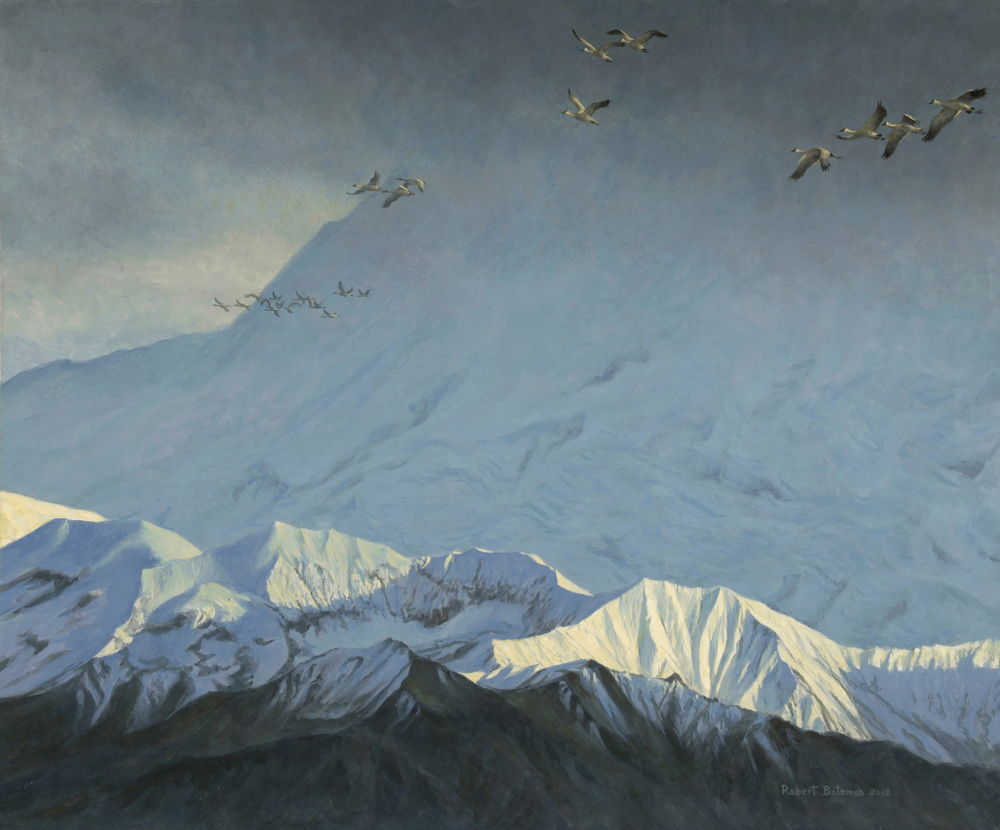 Robert Bateman Sandhills Over Mount Denali Original Painting