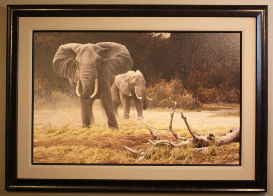 Robert Bateman Elephant Cow and Calf Framed