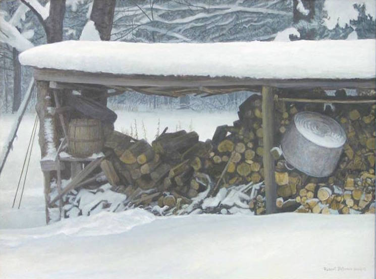 Robert Bateman Woodshed in Winter