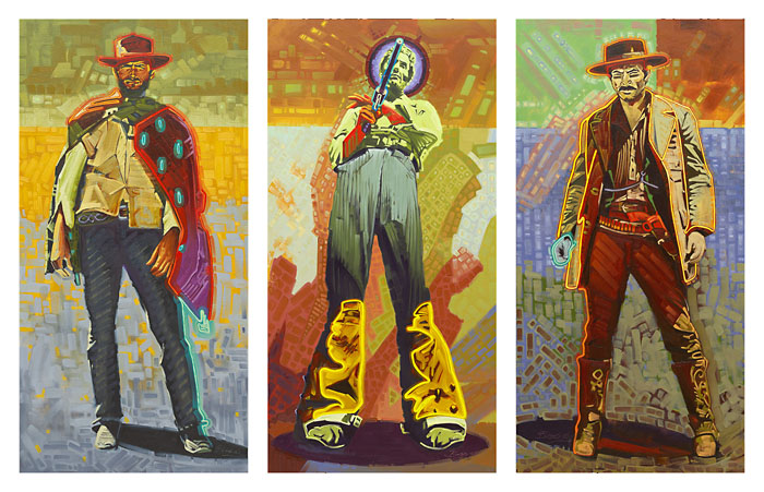 Michael Blessing Neon gunslingers Triptych