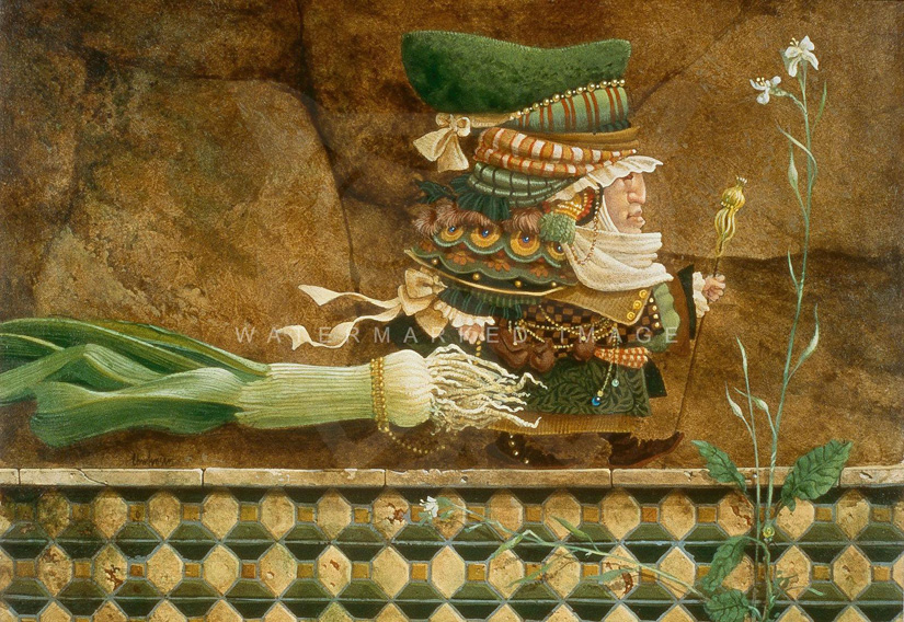 James Christensen Man Taking a Leek on a Tiled Wall For a Walk