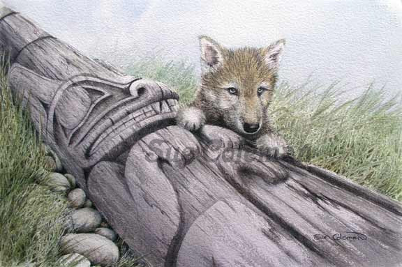 Sue Coleman Wolf Pup and Pole