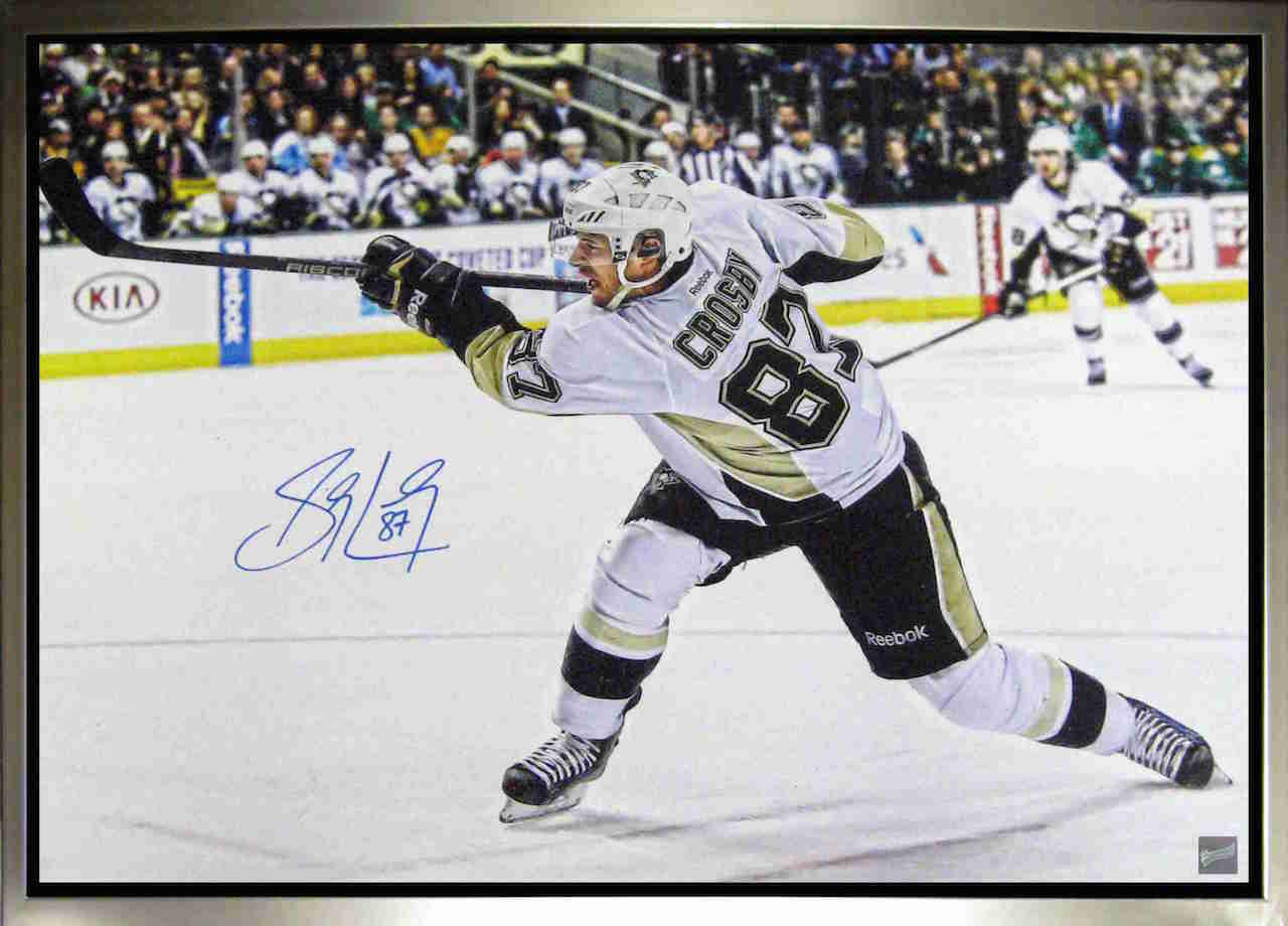 Sidney Crosby Shooting Signed Canvas