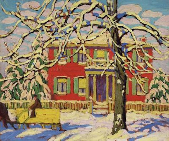 Lawren Harris Red House and Yellow Sleigh