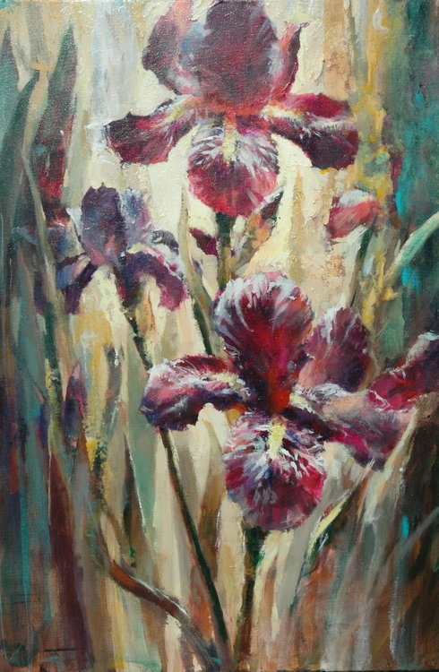Brent Heighton Irises Original Acrylic on Canvas painting
