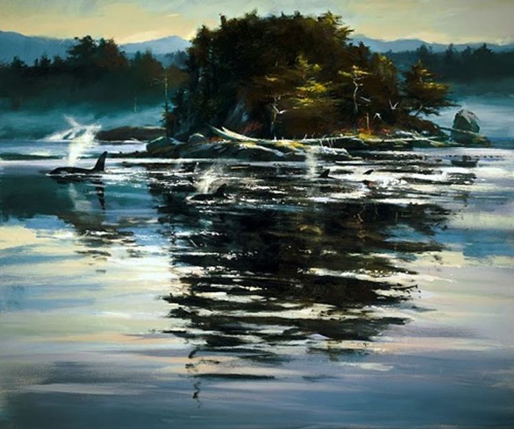 Brent Heighton Breaking The Surface Orcas Giclee Canvas