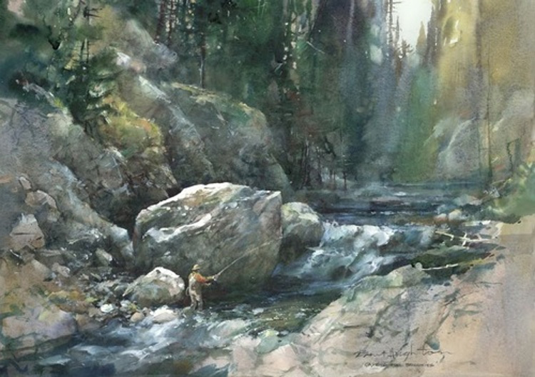 Brent Heighton Casting For Brookies Giclee on Canvas