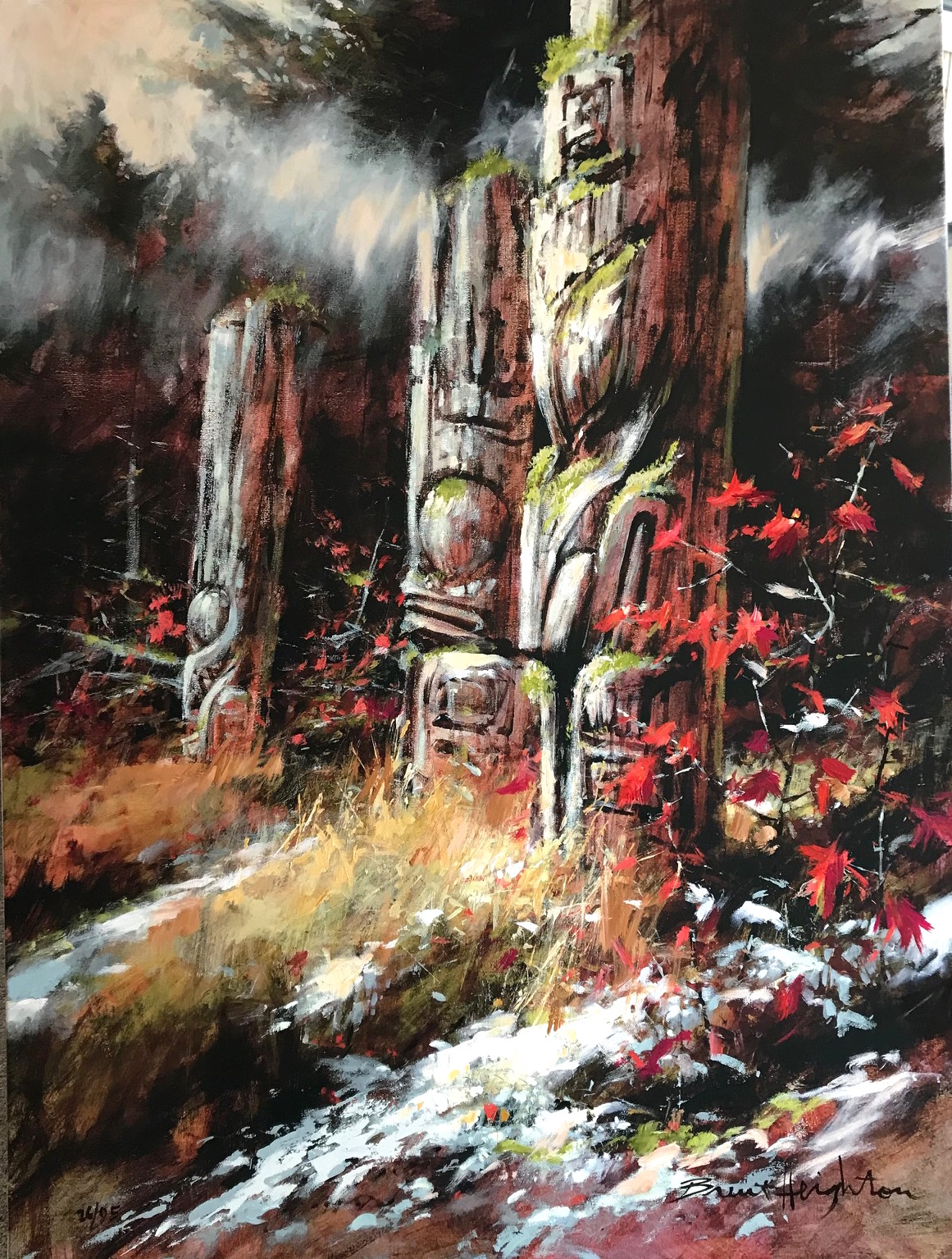 Brent Heighton Haida Sentinel Ninstints Giclee on Canvas