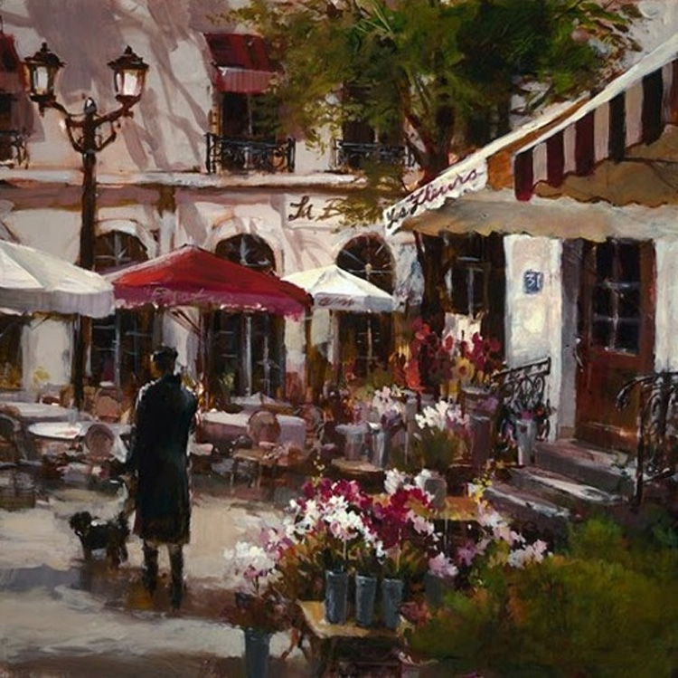 Brent Heighton Flower market Giclee canvas