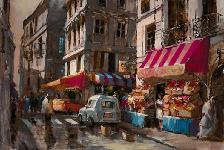 Brent Heighton Paris Streets Giclee on Canvas