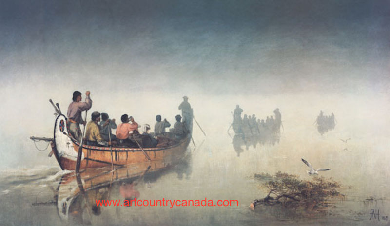Frances Anne Hopkins Canoes In A Fog