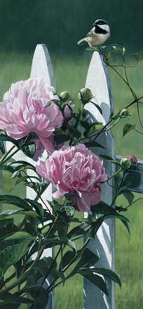 Terry Isaac Chickadee and Peonies