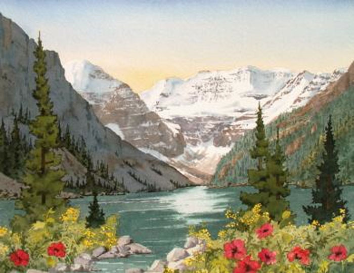 Marilyn Kinsella Lake Louise With Poppies
