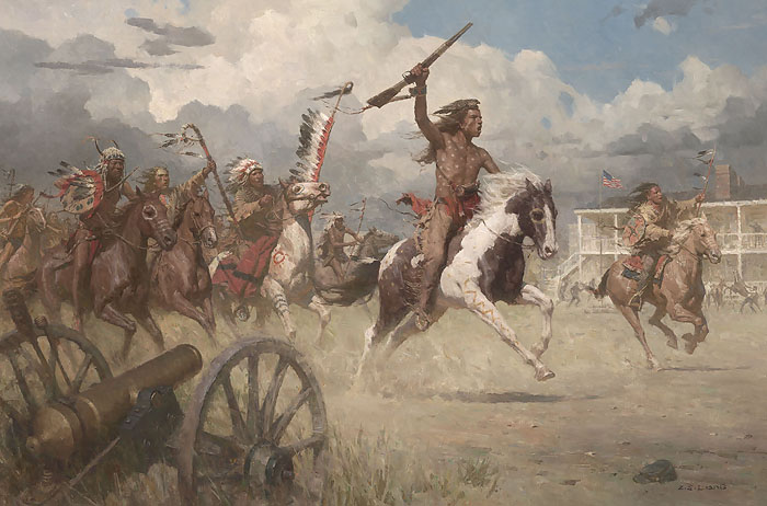 Z S Liang The Charge of Crazy Horse on Fort Laramie , 1864