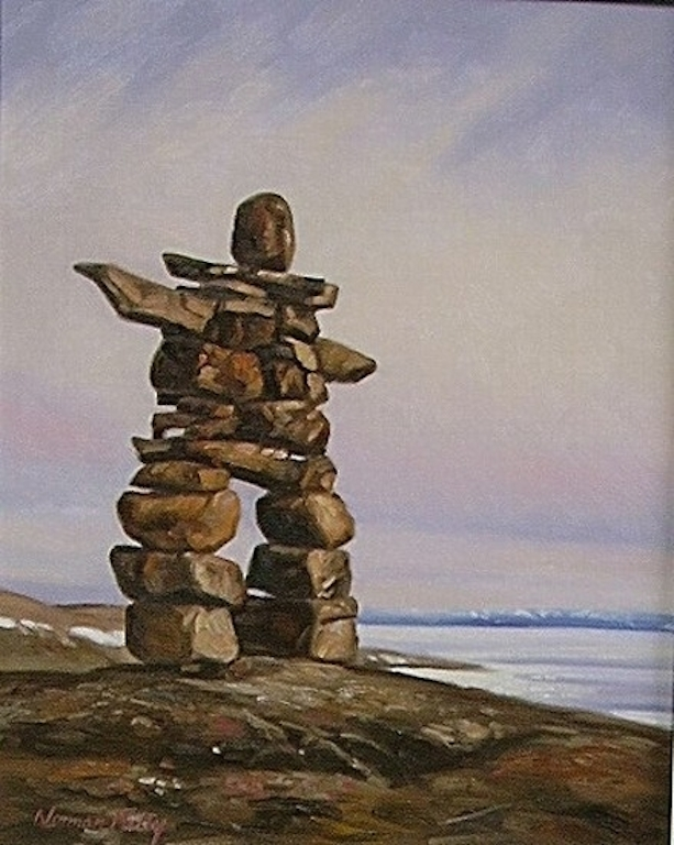 Norman Kelly Above Frobisher Bay Inukshuk
