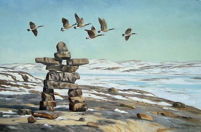 Norman Kelly Arctic Spring Inukshuk and Canada Geese