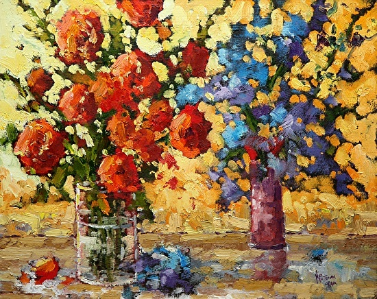 Neil Patterson Flowers Red and Blue Oil on Panel