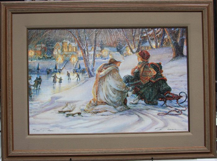 Trisha Romance Evening Skaters Framed