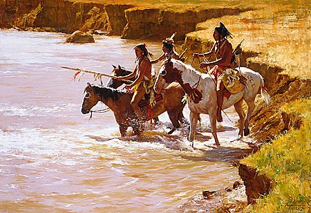 Howard Terpning - Crossing At The Ford