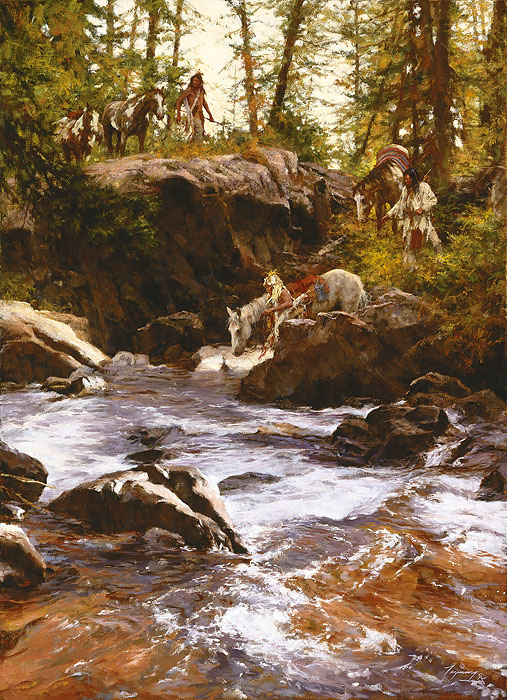 Howard Terpning Crows in the Yellowstone