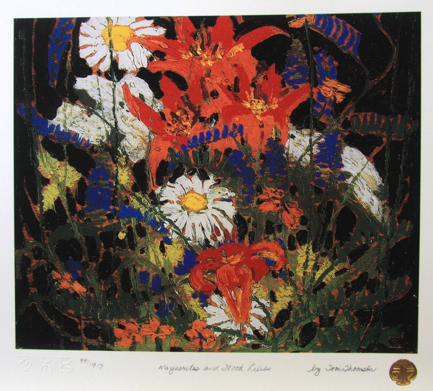 Tom Thomson Marguerites and Wood Lilies