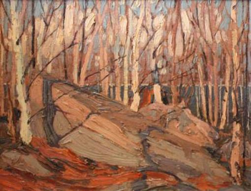 Tom Thomson Rock Birches And Sunlight