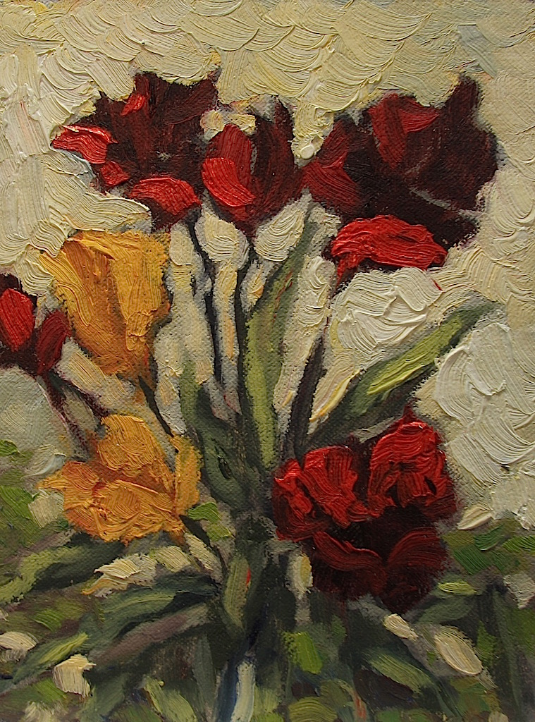 Ann Willsie Red with Yellow Tulips